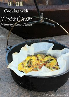Learn how to cook off grid without electricity over an open fire with cast iron Dutch ovens. Recipes, tips, and step by step instructions | Melissa K. Norris | #prepbloggers #offgrid #recipes