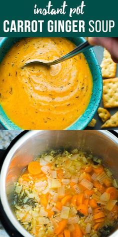 Vegan carrot and ginger soup, made in instant pot or .-Vegane Möhren-Ingwer-Suppe, hergestellt im Instant Pot oder auf Ihrem Herd. Ein… Vegan carrot and ginger soup, made in the instant pot or on your stove. Best Soup Recipes, Healthy Soup Recipes, Whole Food Recipes, Favorite Recipes, Dinner Recipes, Recipes With Ginger, Heathy Soup, Vegetarian Recipes Instant Pot, Carrot Recipes
