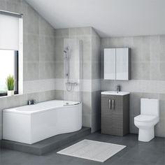 Brooklyn Grey Avola Bathroom Suite with B-Shaped Bath