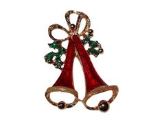 Vintage Double Red Enamel Christmas Bells with Green Enamel Holly & Gold-tone Bow Holiday Pin/Brooch by BeccasBestJewelry on Etsy