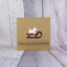 West Highland White Terrier handmade Christmas card Westie on Christmas Tree And Santa, Simple Christmas Cards, Funny Christmas Cards, Christmas Humor, Handmade Christmas, Otters Cute, Pun Card, Westies, Chihuahuas