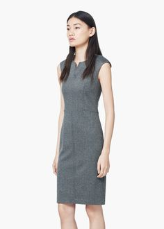 Herringbone pattern dress -  Women | MANGO