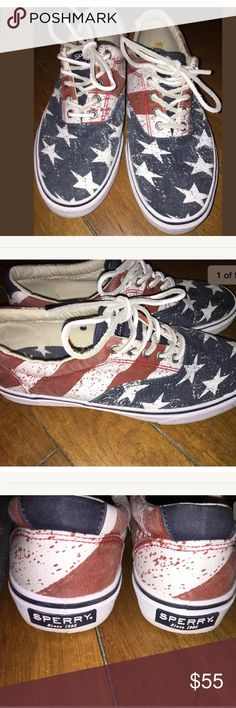 Sperry Striper Stars and Stripes Lace up boat shoe Excellent very gently used condition Sperry Top-Sider Shoes Boat Shoes