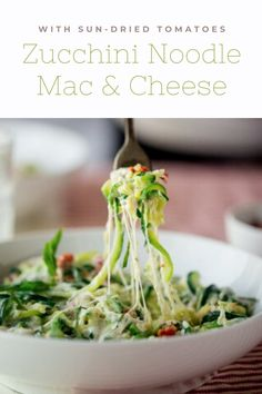 What to make with all that fresh summer zucchini? Mac and cheese, please! No Dairy Recipes, Vegetarian Recipes, Summer Pasta Recipes, Zucchini Noodles, Dried Tomatoes, Sun Dried, Mac And Cheese, Cabbage, Milk