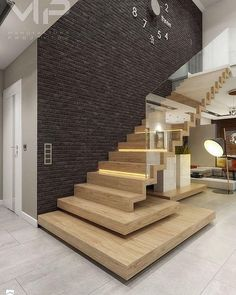 Faltwerktreppe mit Glas Staircase with glass This image has get Home Stairs Design, Railing Design, Interior Stairs, Modern House Design, Interior Architecture, Stair Design, Stair Walls, Modern Stairs, House Stairs