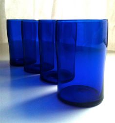 Cobalt blue glass, Vintage glassware, Glass tumblers, Wedding gift, Collectibles, Crystal on Etsy, $60.00