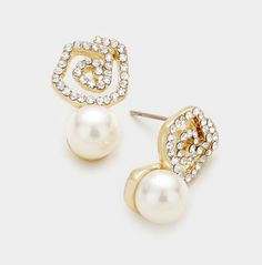 Rose Flower Pave Pearl Drop Post Earring in Gold or Silver Tone https://www.bettinascollection.com/products/rose-pave-pearl-drop-earring-in-gold-or-silver-tone