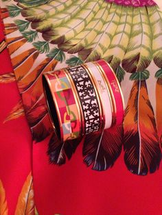 Hermes enamel bracelets with Maxi Twilly.