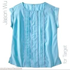 Jason Wu for Target Belieze Blue Blouse New with tags & in perfect condition. Pretty layered front detail. Solid back. Rolled sleeves. Can be worn tucked or untucked. Size XS, but would also work for size S, as it is a looser fit. Beautiful blue color. Jason Wu Tops Blouses