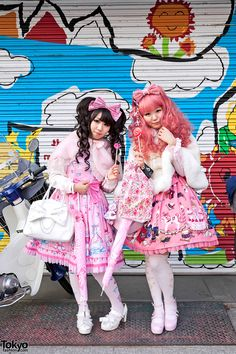Sweet Lolita Fashion in Harajuku, Tokyo - I still remember walking around Harajuku on a weekend and seeing some girls in Lolita fashions, with their frilly dresses and their parasols.