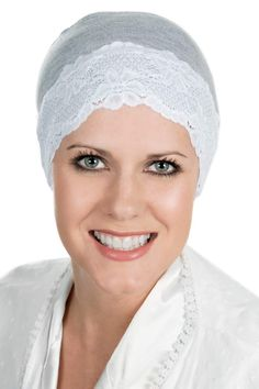 Cardani® Lace Sleep Cap and Hat Liner in Bamboo - Chemo dd6f6a7040ce
