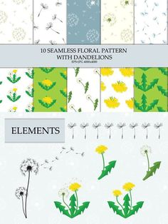 Ten seamless floral vector patterns. Patterns. $7.00