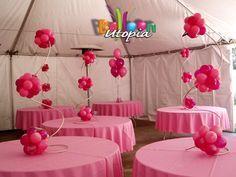 Pink Spiral Topiary: #balloontopiary #balloons