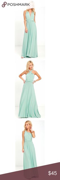 Lulu's Tricks of the Trade Convertible Dress XS Lulu's tricks of the trade convertible maxi dress. Sage color. Size XS. Worn once and dry cleaned. Never altered. Lulu's Dresses Maxi
