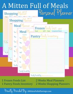 Personal Planner: Meal Planner Printables