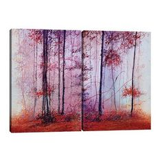 "JaxsonRea ""Foggy Forest"" by Michael Romero 2 Piece Painting Print on Wrapped Canvas Set Size: 36"" H x 48"" W x 1.5"" D"