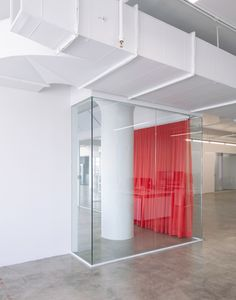 Red drapes partition stark white HUSH offices in Brooklyn Interior Design Boards, Office Interior Design, Office Interiors, New York Office, Separating Rooms, Luxury Office, Red Curtains, Minimal Decor, Lounge Areas