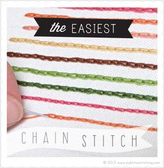 The Easiest Chain Stitch Technique So many awesome things on this site. Really a fresh new look and feel for embroidery. Love love- (just like her tag line says: This ain't your gramma's embroidery) found at-Sublime Stitching