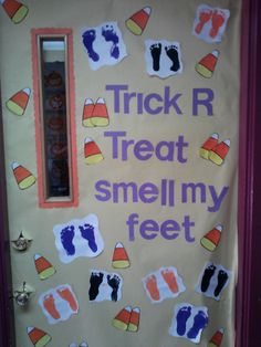 Fun door decor for halloween in a classroom setting