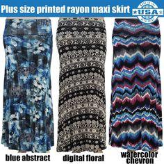 Womens Plus Size Curvy Print Maxi Skirt 1X 2X 3X XL XXL XXXL