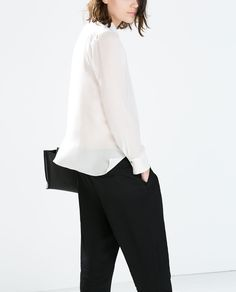 Image 5 of FLOWY JACQUARD PAJAMA STYLE TROUSERS from Zara