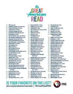 graphic regarding The Great American Read List Printable named 118 Suitable PBS Good American Go through visuals within 2018 Bought publications