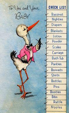 Vintage baby congratulations card with layette list...unique!!!
