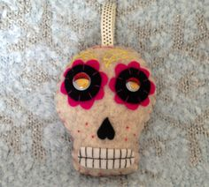 Hand Embroidered Sugar Skull Ornament - Day of the Dead Sugar Skull Ornament - Colorful Felt Sugar Skull Halloween Decoration by craftoholicsoul on Etsy