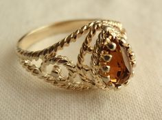 Vintage Avon Gold Tone Pear Shaped Citrine Ring by cutterstone, $5.00