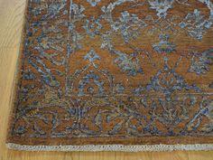 "2'6""x5'9"" Wool and Silk Damask Runner Tone on Tone Handmade Oriental Rug Sh27451- Product:2-6-x5-9-Wool-and-Silk-Damask-Runner-Tone-on-Tone-Handmade-Oriental-Rug-Sh27451"
