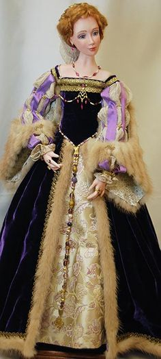 Lady of the Italian Court, circa 1520 - Commission Work by Ms. Mollie O — Porcelain Art Dolls