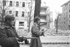 soviet army soldiers patroling the streets of berlin, 1945 Soviet Army, Soviet Union, Army Soldier, Red Army, Vienna Austria, Armed Forces, World War Two, Ww2, History