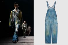 Gucci is selling denim overalls with grass 'stain effect' for $1,400 Denim Dungarees, Denim Pants, Gucci Fashion, Fashion Show, Carhartt Overalls, Grass Stains, Gucci Models, Image Model, Gq