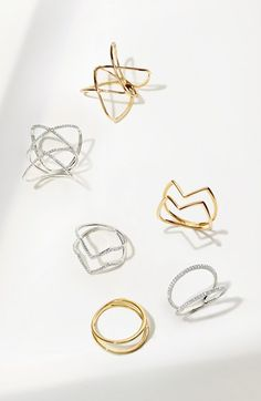 Bony Levy Diamond Two Bar Ring (Nordstrom Exclusive) Stackable Diamond Rings, Unique Diamond Rings, Stacking Rings, Stylish Jewelry, Modern Jewelry, Black Rings, White Gold Rings, Ring Sketch, Chevron Ring