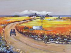 Farm Road Painting by Kareni Bester Road Painting, Farm Cottage, Farm Art, South African Artists, Landscape Paintings, Landscapes, Lovers Art, Original Paintings, Instagram Images