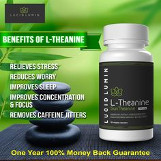 The Secret to Feeling Calm and Focused in the Chaos - L-Theanine will help you feel relaxed and focused so you can take control of your life.  L-Theanine has no known side effects. It's a safe and naturally occurring amino acid that is found in green tea. L-Theanine increases alpha brain wave activity. Alpha brain waves are known to clear your mind of unwanted thoughts and increase your creativity. Details: