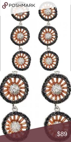 """Stunning Triple Lotus Artisan RoseGold/Blk/Crystal our Rose Gold Triple Lotus Blossom earrings provide the perfect balance of simple elegance and """"something different"""" in design. This versatile and wonderful style features stylish Rose gold finished Silver but also, black Cubic Zirconia that add that unexpected """"wow"""" factor to this absolutely stunning design.  This earring can easily be worn for lunch with the ladies or your friend's wedding. 1 ½"""" L Rose Gold Over Sterling Silver (Vermeil)…"""