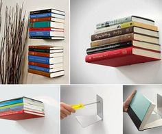 You can create similar magical floating bookshelves with the help of this small metal angle and few screws. Here's a simple guide explaining how you can create your own magical floating bookshelves Diy Simple, Easy Diy, Decoration Tumblr, Diy Bookshelf Plans, Invisible Bookshelf, Diy Home Decor For Apartments, Floating Bookshelves, Book Shelves, Creative Bookshelves