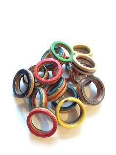 My first batch of Handmade Recycled Skateboard Rings #recycledskateboards