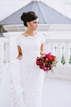 white high neck lace wedding dress