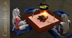 Caramelize 0_oIndoor Campfire (clutter) 111 simoleons each TS4 CC - Mesh by Caramelize 0_o