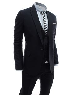 Brand new dressy suits for men. There are 3 pieces set suits, 1 button single breasted blazer and trousers and vest. Slim fit dress suit set are good for wear at party, club, wedding, working business office.