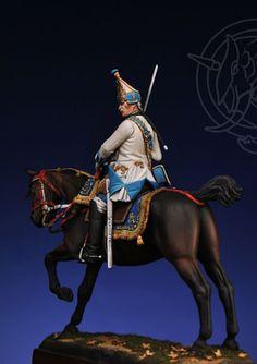 Grenadier officer in the Holstein Dragoon Regiment. Russia 1756-