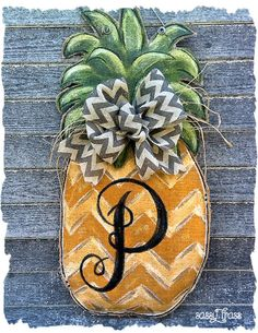 Pineapple Burlap Chevron Monogrammed Door By SassyFrassOriginals