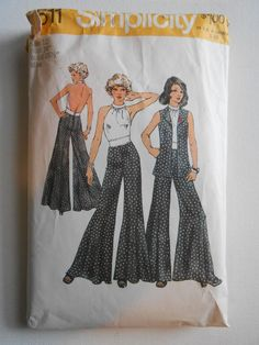 Vintage 70s Lined Halter Top, Wide Leg Pants and Unlined Vest Sewing Pattern Simplicity 5611 Size 12 Bust 34 by lisaanne1960 on Etsy #vintagesewingpatterns