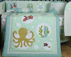 Love this bedding set! Ocean Themed Nursery, Nursery Themes, Nursery Ideas, Nursery Bedding Sets Girl, Nursery Crib, Baby Boy Cowboy, Ocean Room, Baby Boy Nurseries, Baby Decor