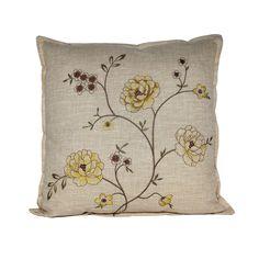 BNF Serenta Faux Linen Embroidery Decorative Throw Pillow 2-piece Set