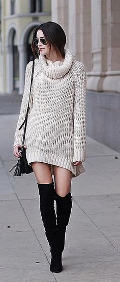 A cozy sweater dress and over-the-knee boots