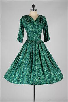 vintage 1950s dress . green floral batik by millstreetvintage