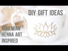 DIY Gift Ideas: Bohemian Henna Tattoo Art Inspired Mugs and Gold Leafed Faux Suede Lotus Coasters. Blog: http://www.modernbohemianlifestyle.com Twitter: http...